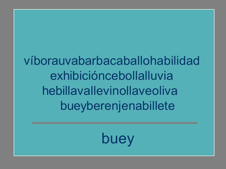 víborauvabarbacaballohabilidad exhibicióncebollalluvia hebillavallevinollaveoliva bueyberenjenabillete habilidad