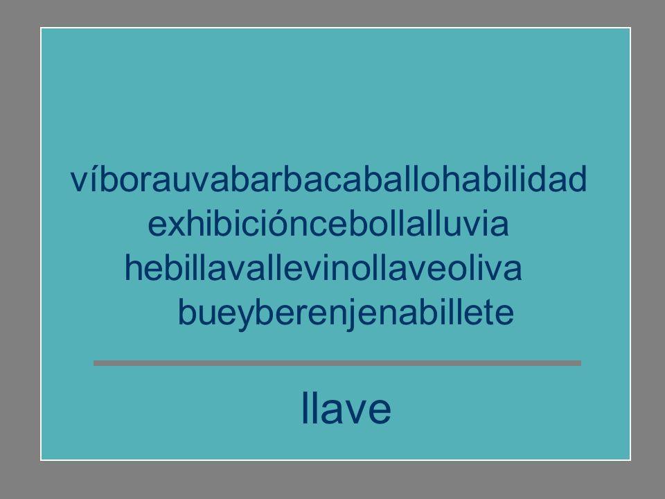 víborauvabarbacaballohabilidad exhibicióncebollalluvia hebillavallevinollaveoliva bueyberenjenabillete oliva