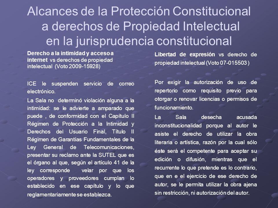 Alcances de la Protección Constitucional a derechos de Propiedad Intelectual en la jurisprudencia constitucional Derecho a la intimidad y acceso a int