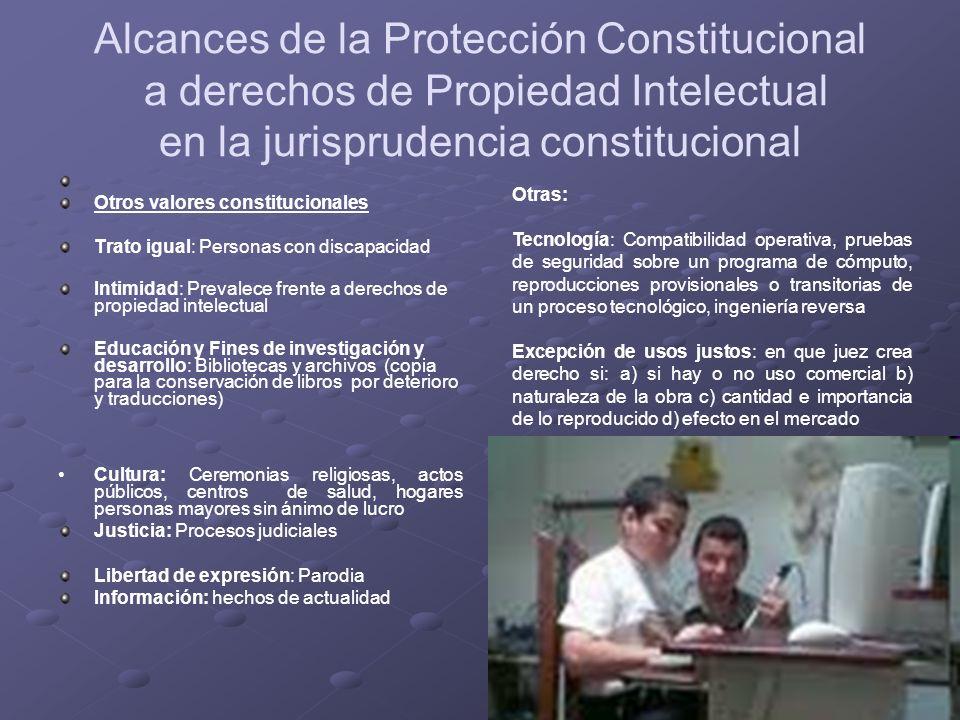 Alcances de la Protección Constitucional a derechos de Propiedad Intelectual en la jurisprudencia constitucional Otros valores constitucionales Trato