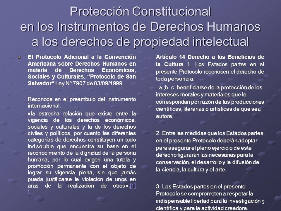 5 Protección Constitucional en los Instrumentos de Derechos Humanos a los derechos de propiedad intelectual El Protocolo Adicional a la Convención Ame