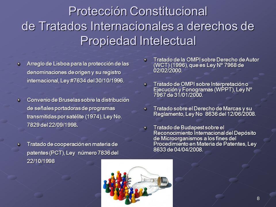 8 Protección Constitucional de Tratados Internacionales a derechos de Propiedad Intelectual Arreglo de Lisboa para la protección de las denominaciones