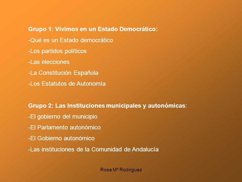 Grupo 1: Vivimos en un Estado Democrático: -Qué es un Estado democrático -Los partidos políticos -Las elecciones -La Constitución Española -Los Estatu