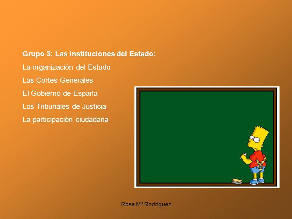 Grupo 3: Las Instituciones del Estado: La organización del Estado Las Cortes Generales El Gobierno de España Los Tribunales de Justicia La participaci