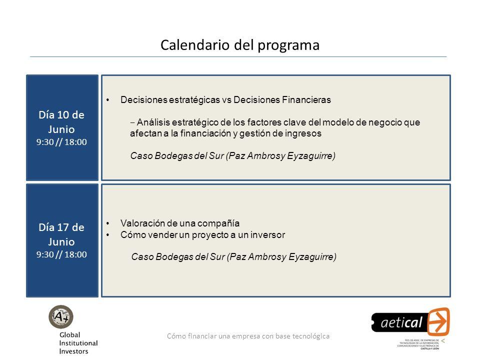 Cómo financiar una empresa con base tecnológica Calendario del programa Día 10 de Junio 9:30 // 18:00 Decisiones estratégicas vs Decisiones Financiera