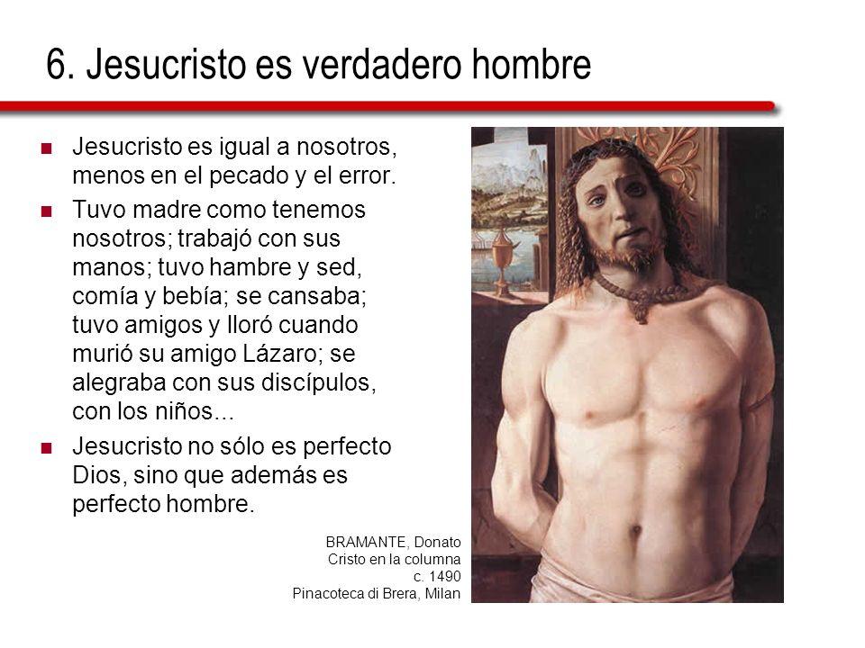 6. Jesucristo es verdadero hombre Jesucristo es igual a nosotros, menos en el pecado y el error. Tuvo madre como tenemos nosotros; trabajó con sus man