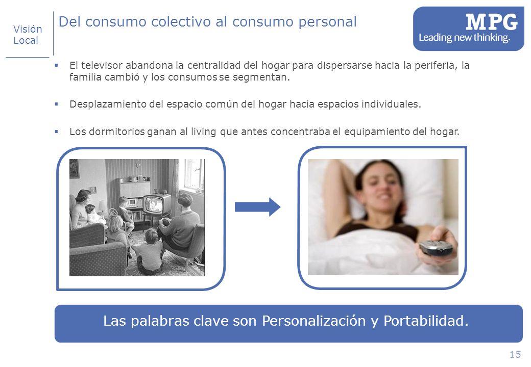 15 Del consumo colectivo al consumo personal El televisor abandona la centralidad del hogar para dispersarse hacia la periferia, la familia cambió y los consumos se segmentan.