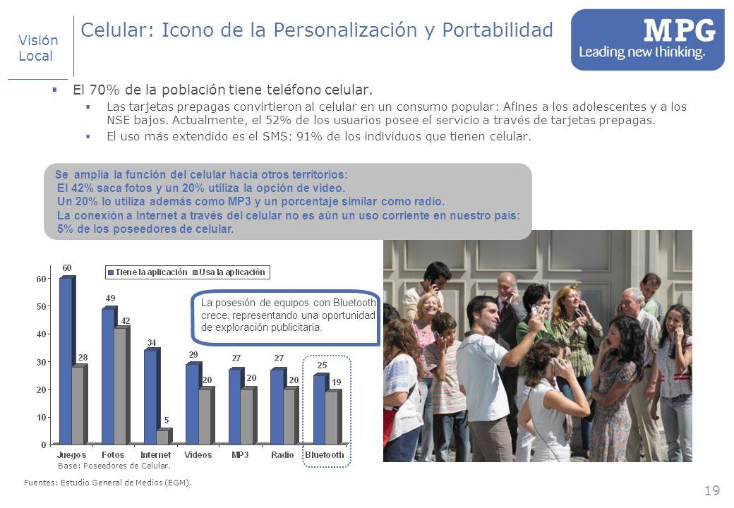 19 Celular: Icono de la Personalización y Portabilidad El 70% de la población tiene teléfono celular.