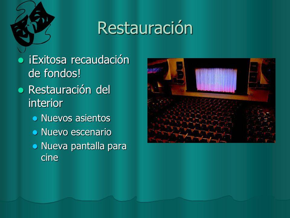 Restauración ¡Exitosa recaudación de fondos! ¡Exitosa recaudación de fondos! Restauración del interior Restauración del interior Nuevos asientos Nuevo