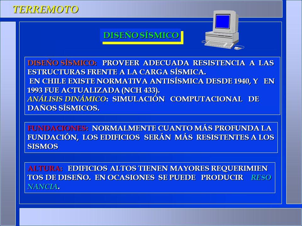 TERREMOTO DISEÑO SÍSMICO: PROVEER ADECUADA RESISTENCIA A LAS ESTRUCTURAS FRENTE A LA CARGA SÍSMICA. EN CHILE EXISTE NORMATIVA ANTISÍSMICA DESDE 1940,