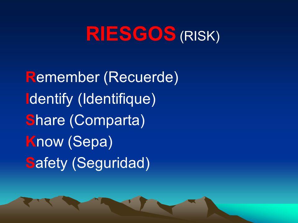 RIESGOS (RISK) Remember (Recuerde) Identify (Identifique) Share (Comparta) Know (Sepa) Safety (Seguridad)
