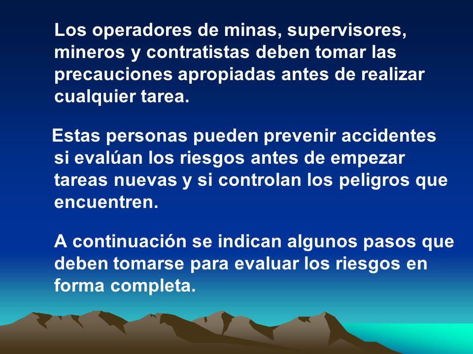 Los operadores de minas, supervisores, mineros y contratistas deben tomar las precauciones apropiadas antes de realizar cualquier tarea. Estas persona