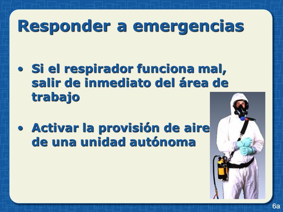 Responder a emergencias Si el respirador funciona mal, salir de inmediato del área de trabajoSi el respirador funciona mal, salir de inmediato del áre