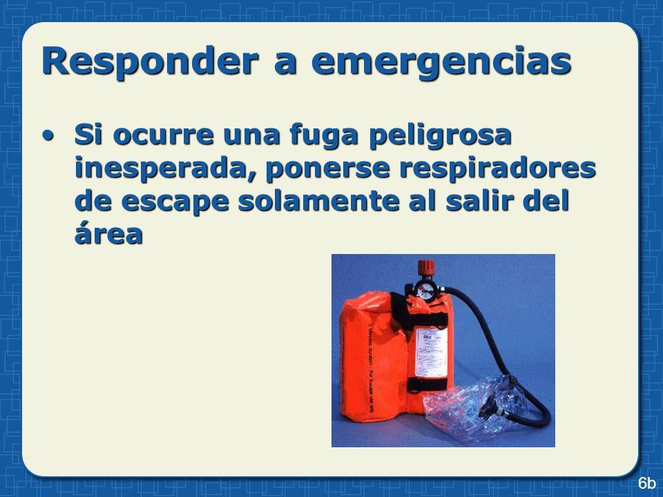 Si ocurre una fuga peligrosa inesperada, ponerse respiradores de escape solamente al salir del áreaSi ocurre una fuga peligrosa inesperada, ponerse re