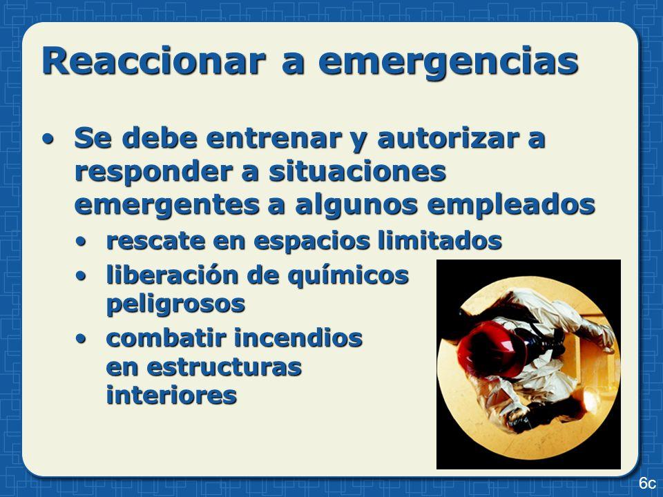 Reaccionar a emergencias Se debe entrenar y autorizar a responder a situaciones emergentes a algunos empleadosSe debe entrenar y autorizar a responder