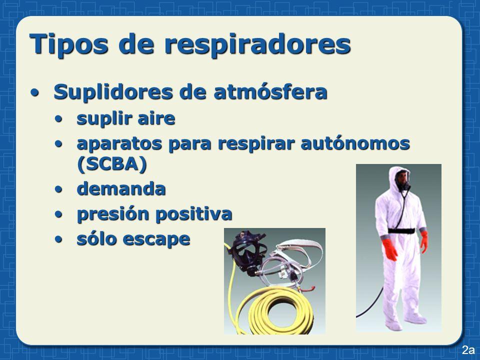 Tipos de respiradores Suplidores de atmósferaSuplidores de atmósfera suplir airesuplir aire aparatos para respirar autónomos (SCBA)aparatos para respi