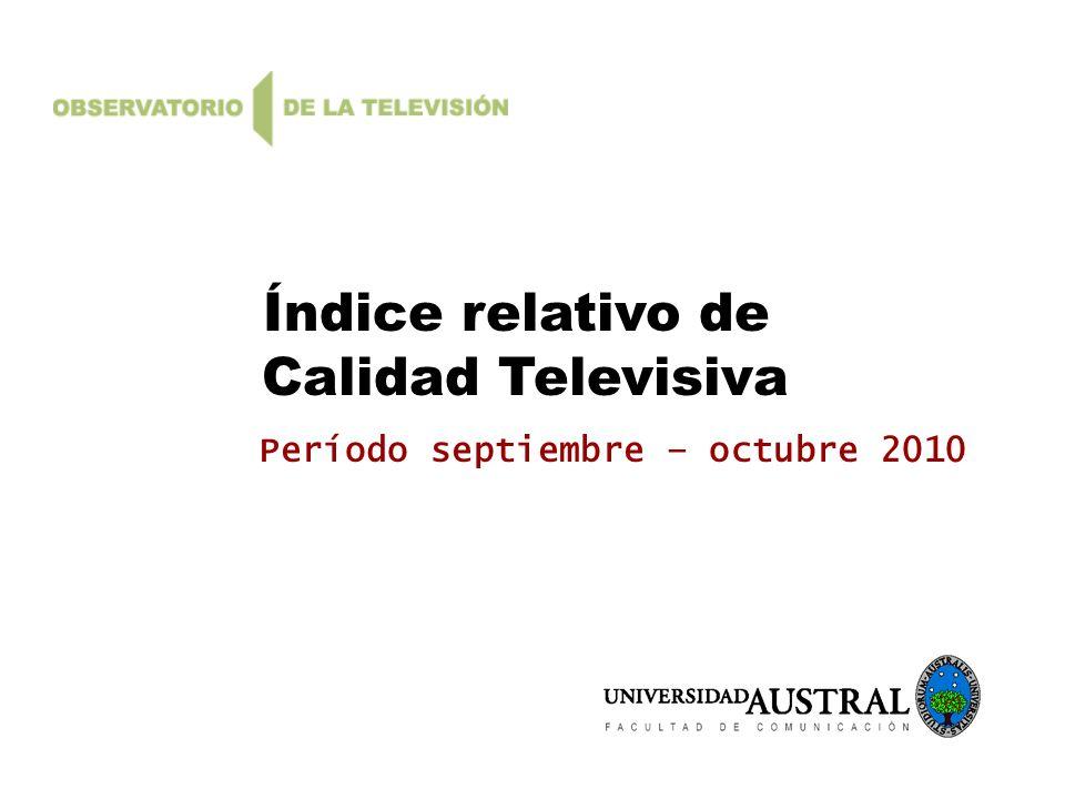 Índice relativo de Calidad Televisiva Período septiembre – octubre 2010