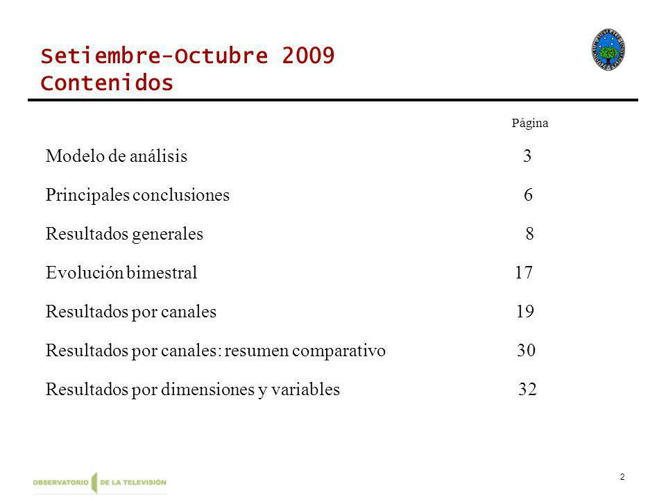 2 Setiembre-Octubre 2009 Contenidos Página Modelo de análisis 3 Principales conclusiones 6 Resultados generales 8 Evolución bimestral 17 Resultados por canales 19 Resultados por canales: resumen comparativo 30 Resultados por dimensiones y variables 32