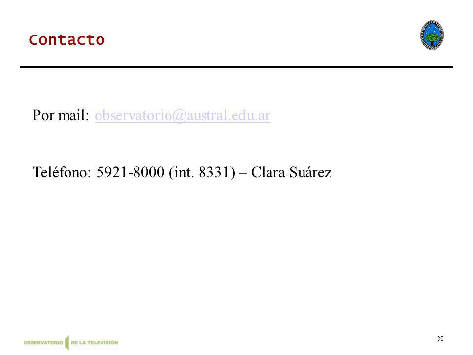36 Contacto Por mail: observatorio@austral.edu.arobservatorio@austral.edu.ar Teléfono: 5921-8000 (int. 8331) – Clara Suárez
