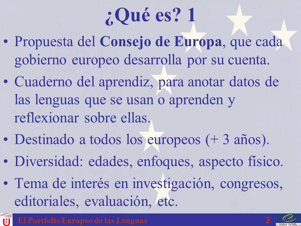 2 ¿Qué es? 1 Propuesta del Consejo de Europa, que cada gobierno europeo desarrolla por su cuenta. Cuaderno del aprendiz, para anotar datos de las leng