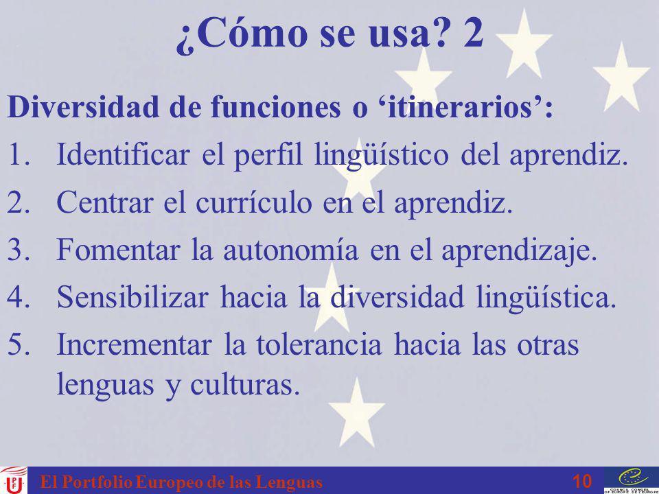 10 El Portfolio Europeo de las Lenguas ¿Cómo se usa? 2 Diversidad de funciones o itinerarios: 1.Identificar el perfil lingüístico del aprendiz. 2.Cent