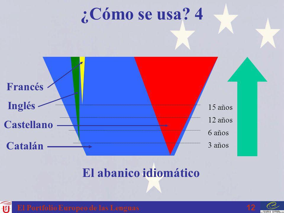 12 El Portfolio Europeo de las Lenguas ¿Cómo se usa? 4 3 años 6 años 12 años 15 años El abanico idiomático Catalán Castellano Francés Inglés