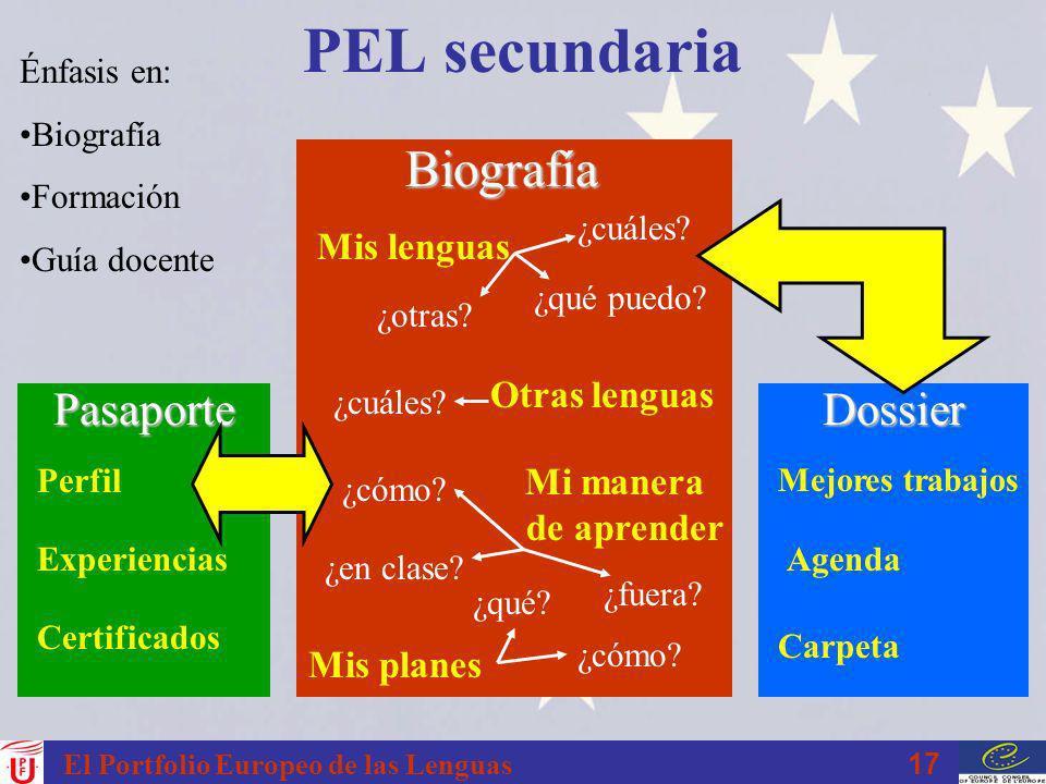 17 El Portfolio Europeo de las Lenguas PEL secundariaBiografía Mis lenguas Mi manera de aprender Mis planes Otras lenguas ¿cuáles? ¿qué puedo? ¿otras?