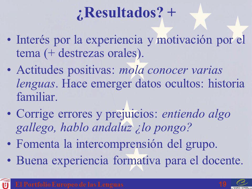 19 El Portfolio Europeo de las Lenguas ¿Resultados? + Interés por la experiencia y motivación por el tema (+ destrezas orales). Actitudes positivas: m