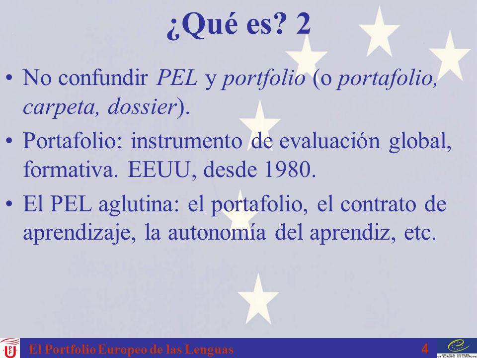 4 El Portfolio Europeo de las Lenguas ¿Qué es? 2 No confundir PEL y portfolio (o portafolio, carpeta, dossier). Portafolio: instrumento de evaluación