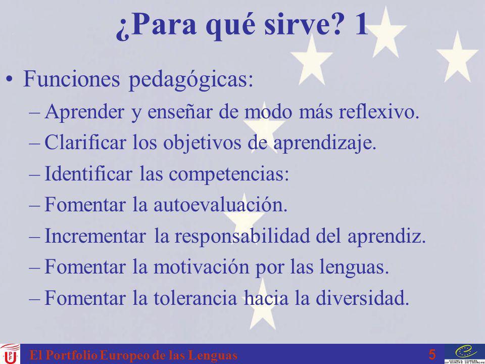 16 El Portfolio Europeo de las Lenguas PEL en España El MECD desde setiembre 2001.