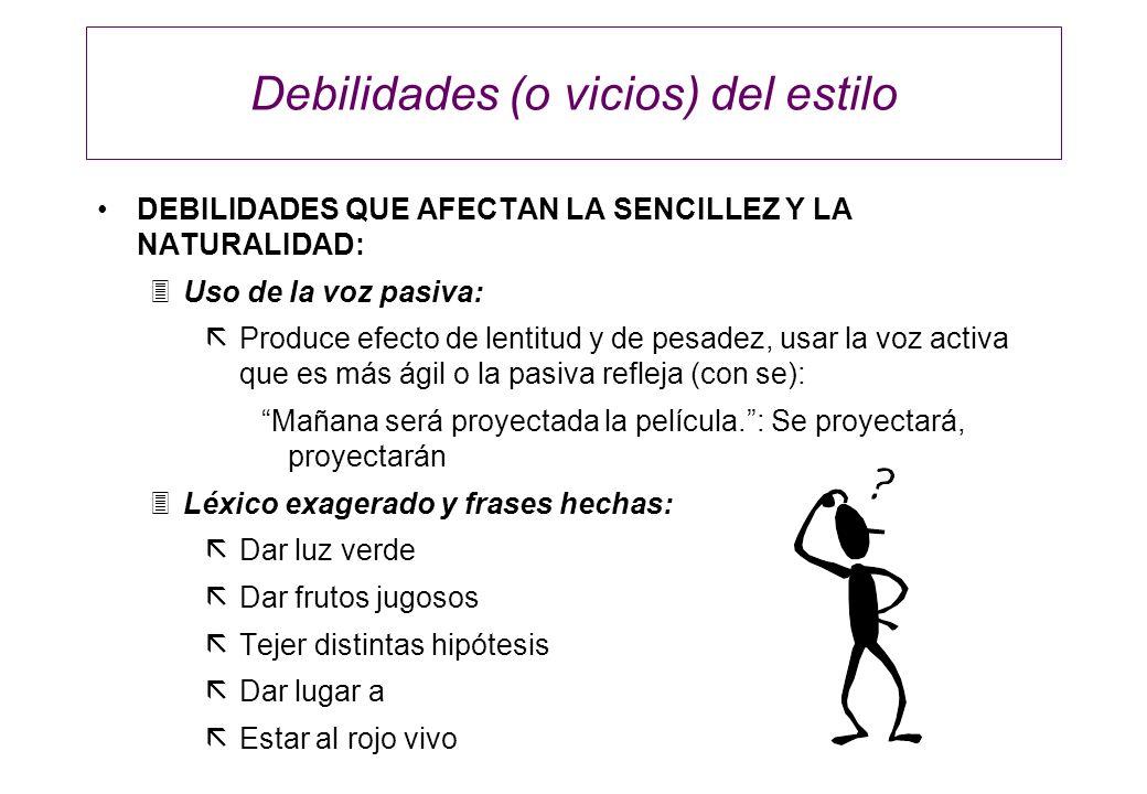 Debilidades (o vicios) del estilo DEBILIDADES QUE AFECTAN LA SENCILLEZ Y LA NATURALIDAD: 3Uso de la voz pasiva: ãProduce efecto de lentitud y de pesad