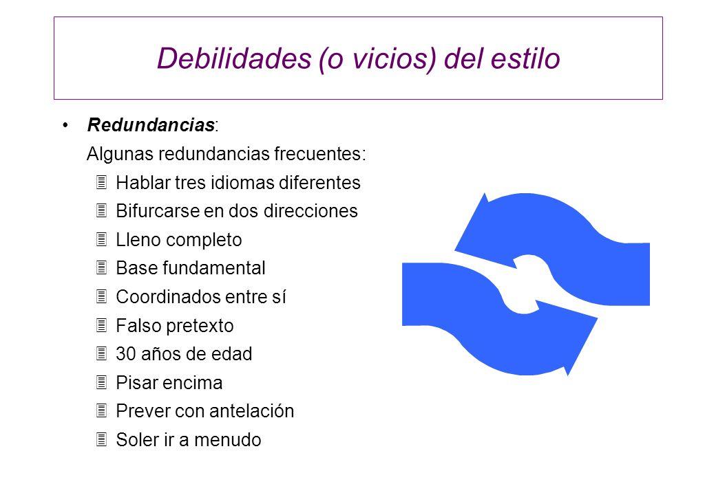 Debilidades (o vicios) del estilo Redundancias: Algunas redundancias frecuentes: 3Hablar tres idiomas diferentes 3Bifurcarse en dos direcciones 3Lleno
