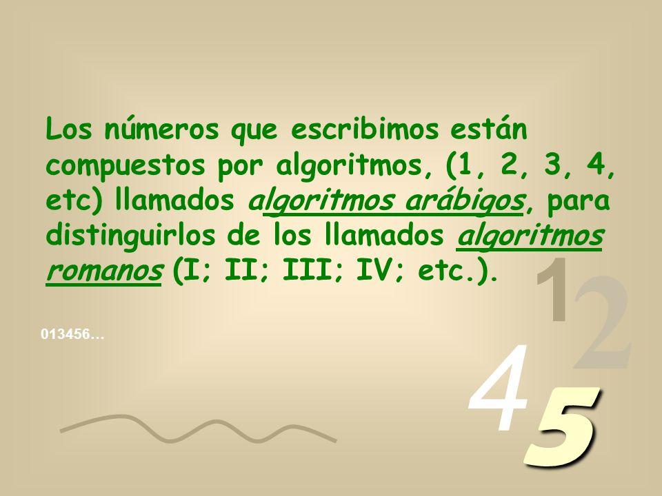 Los números que escribimos están compuestos por algoritmos, (1, 2, 3, 4, etc) llamados algoritmos arábigos, para distinguirlos de los llamados algoritmos romanos (I; II; III; IV; etc.).