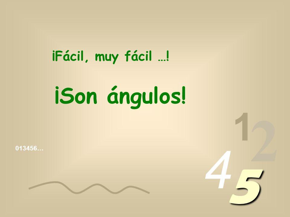 013456… 1 2 4 5 ¡Fácil, muy fácil …! ¡Son ángulos!