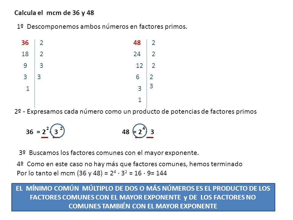 Calcula el mcm de 36, 48 y 10 2º - Expresamos cada número como un producto de potencias de factores primos 362 1º Descomponemos ambos números en factores primos.