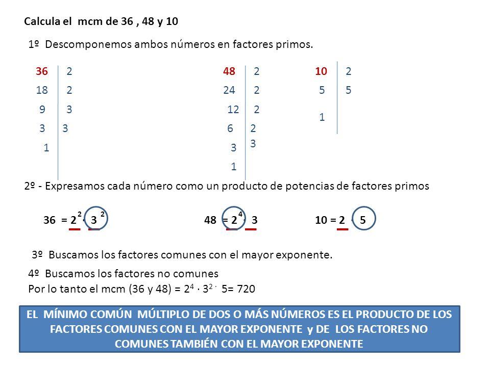 Calcula el mcm de 36, 48 y 10 2º - Expresamos cada número como un producto de potencias de factores primos 362 1º Descomponemos ambos números en facto