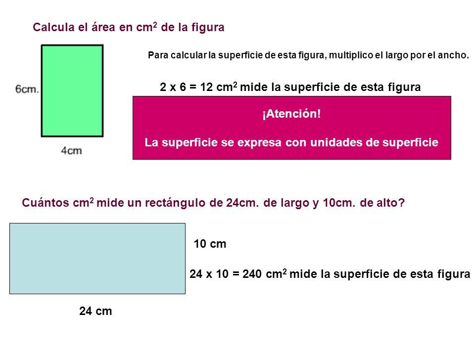 Calcula el área en cm 2 de la figura Para calcular la superficie de esta figura, multiplico el largo por el ancho. 2 x 6 = 12 cm 2 mide la superficie