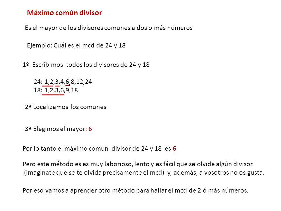 Máximo común divisor Es el mayor de los divisores comunes a dos o más números 1º Escribimos todos los divisores de 24 y 18 24: 1,2,3,4,6,8,12,24 18: 1