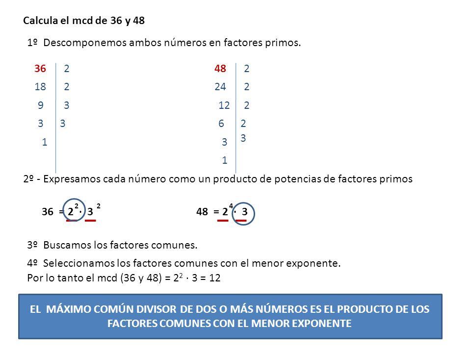 Calcula el mcd de 36 y 48 2º - Expresamos cada número como un producto de potencias de factores primos 362 1º Descomponemos ambos números en factores