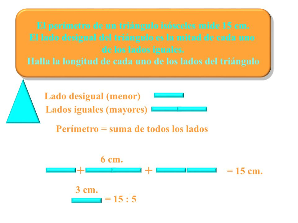El perímetro de un triángulo isósceles mide 15 cm. El lado desigual del triángulo es la mitad de cada uno de los lados iguales. Halla la longitud de c
