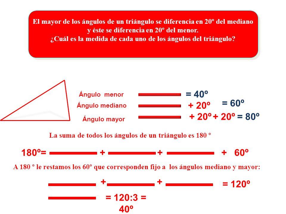El mayor de los ángulos de un triángulo se diferencia en 20º del mediano y éste se diferencia en 20º del menor. ¿Cuál es la medida de cada uno de los