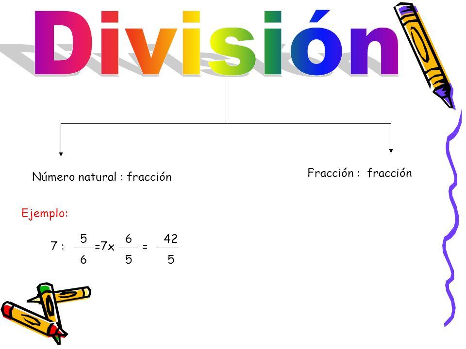 Número natural : fracción Fracción : fracción Ejemplo: 5 6 42 6 5 5 7 :==7x