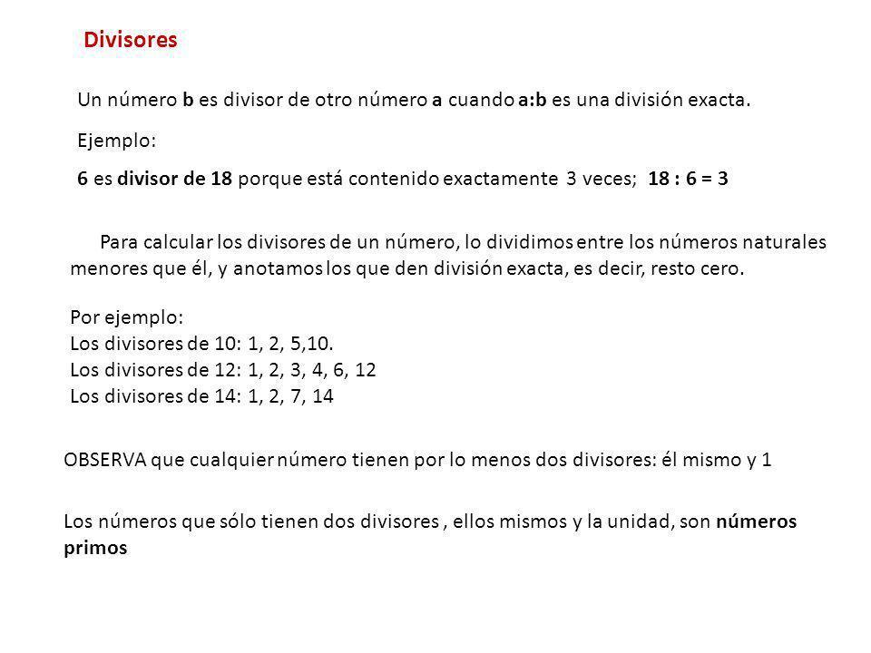 Divisores Un número b es divisor de otro número a cuando a:b es una división exacta. Para calcular los divisores de un número, lo dividimos entre los