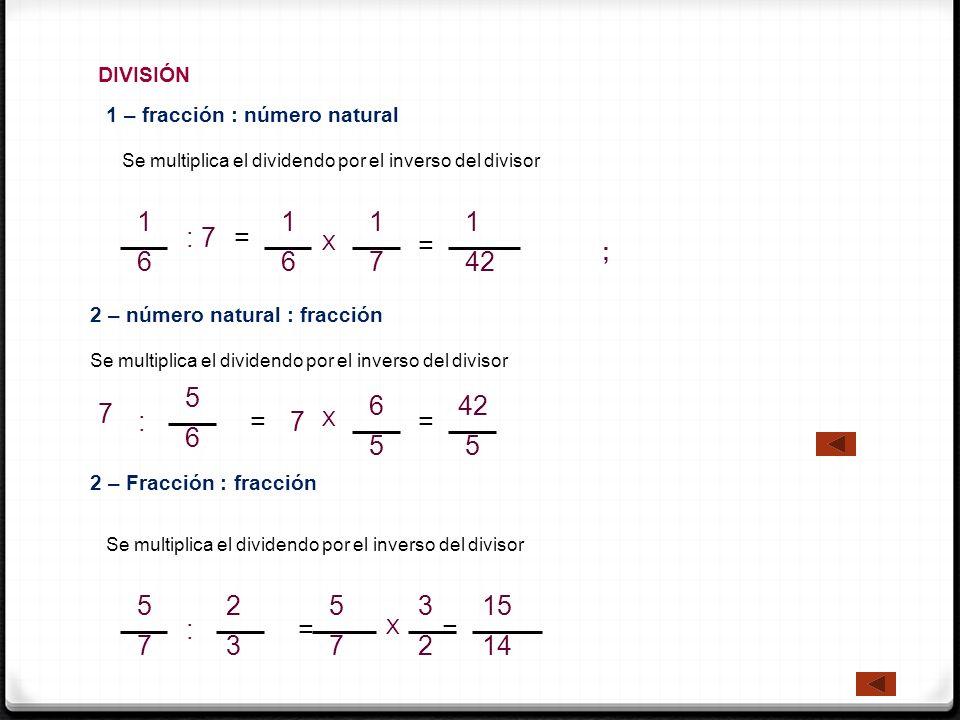 DIVISIÓN Se multiplica el dividendo por el inverso del divisor 2 – Fracción : fracción 5 7 : 2 3 = 5 7 = 15 14 2 – número natural : fracción 1 – fracc
