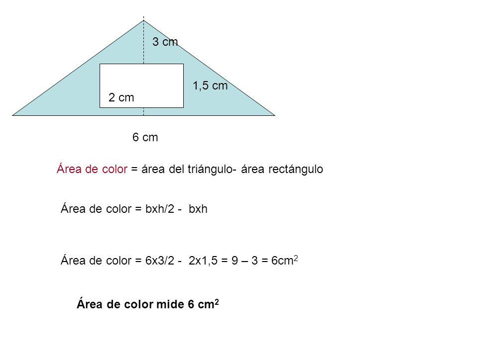 4 cm 2,5 cm 2 cm Área de color = área del rectángulo - área triángulo 1,5 cm Área de color = bxh – bxh/2 Área de color = 4x2,5 – 2x1,5/2 = 10 – 1,5 =8,5 cm 2 Área de color mide 8,5 cm 2 = 0,085 dm 2 =0,00085 m 2