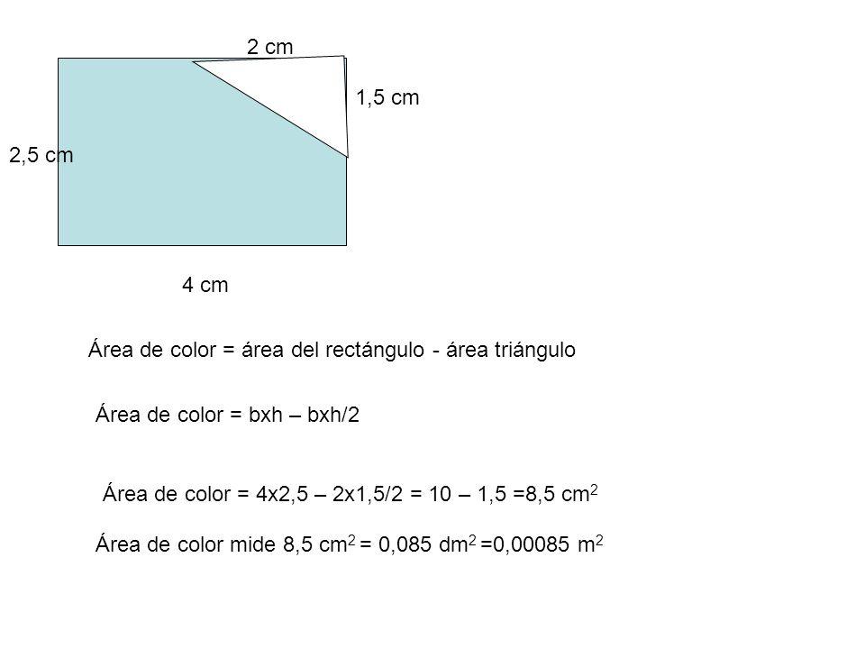 4 cm 2,5 cm 2 cm Área de color = área del rectángulo - área triángulo 1,5 cm Área de color = bxh – bxh/2 Área de color = 4x2,5 – 2x1,5/2 = 10 – 1,5 =8