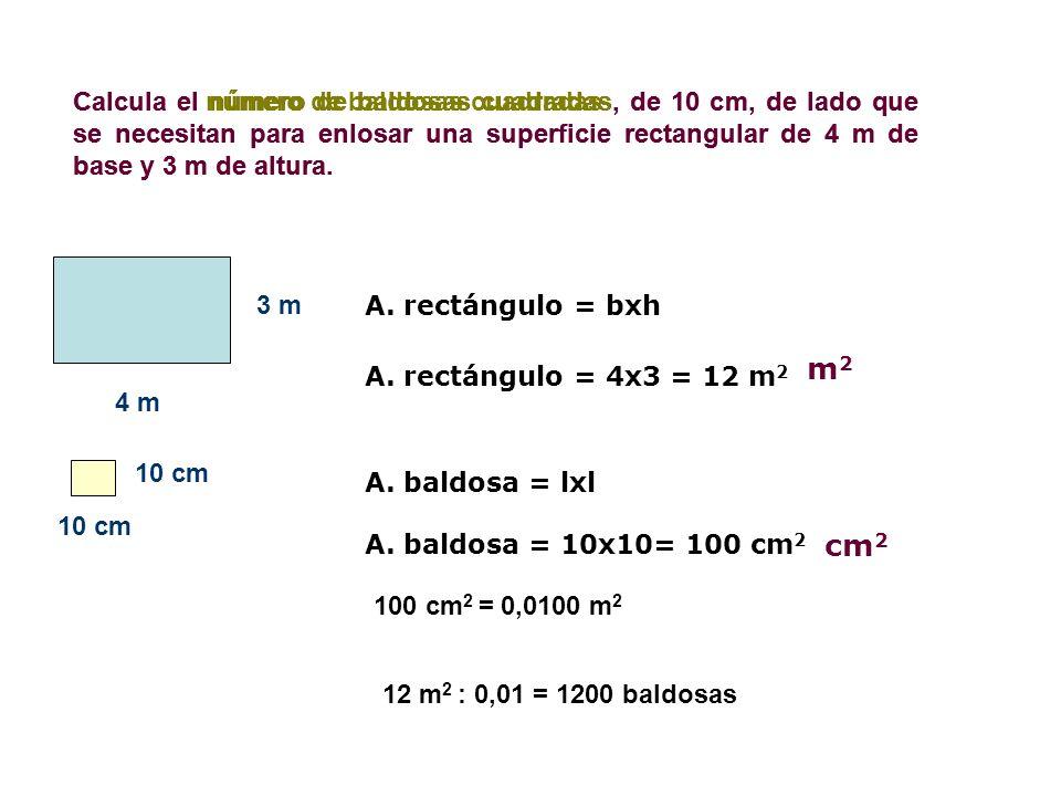 Calcula el número de baldosas cuadradas, de 10 cm, de lado que se necesitan para enlosar una superficie rectangular de 4 m de base y 3 m de altura. nú