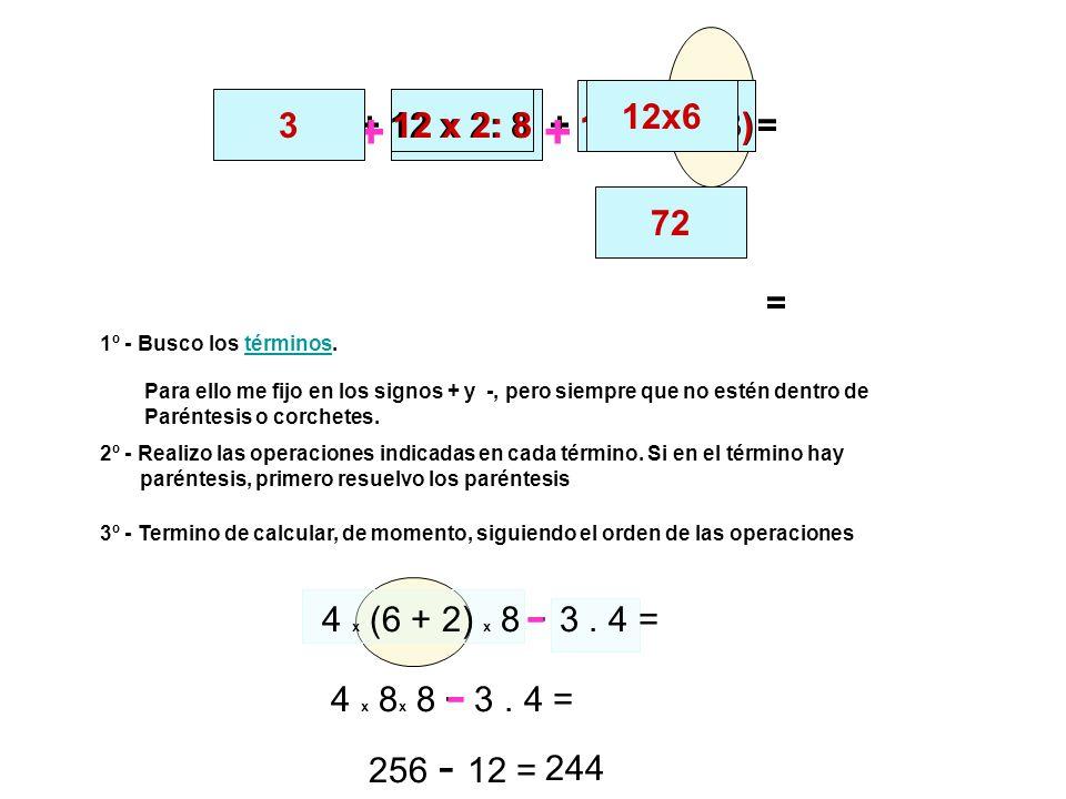 3 33 :11 + 12 x 2: 8 + 12 x (9 - 3) ++ 33 :1112 x 2: 812 x (9 - 3)= 3 - 12x6 72 = 4 x (6 + 2) x 8 - 3. 4 = 1º - Busco los términos.términos 2º - Reali