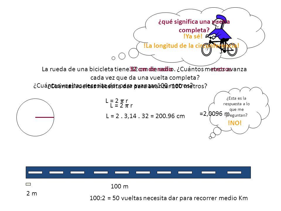 La rueda de una bicicleta tiene 32 cm de radio. ¿Cuántos metros avanza cada vez que da una vuelta completa? ¿Cuántas vueltas necesita dar para avanzar