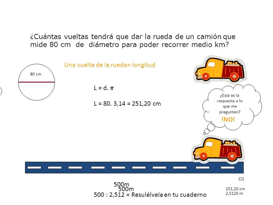 B ¿Cuántas vueltas tendrá que dar la rueda de un camión q ue mide 80 cm de diámetro para poder recorrer medio km? 80 cm Una vuelta de la rueda= longit